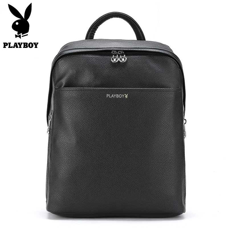 Playboy Brand Preppy Style Leather School Backpack Bag For College Simple Design Men Casual Daypacks mochila Male Laptop Bag