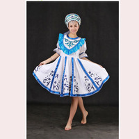 High Quality Customized Russian Folk Dance Costume Dress With Headwear Head For Adult Kids,Women Russia Stage Clothing HF002