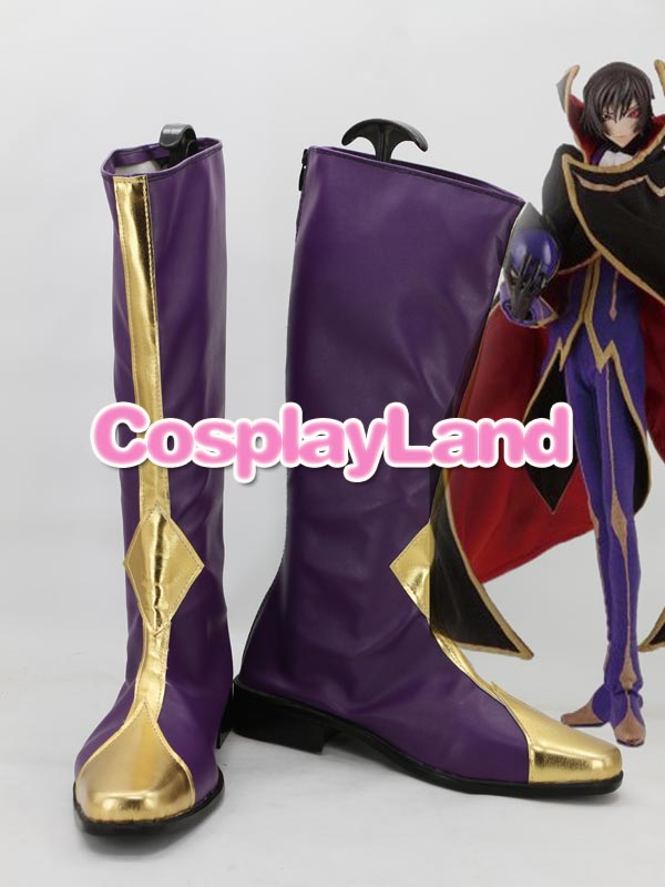 Code Geass Lelouch Zero Purple Cosplay Boots Shoes Anime Party Cosplay Show Boots Custom Made for Adult Men Shoes
