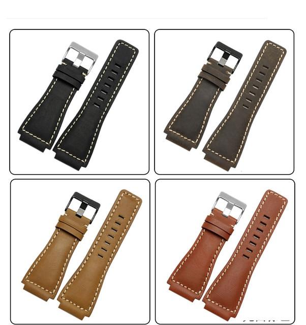 33*24mm Convex End Italian Calfskin Leather Watch Band For Bell Series BR01 BR03 Strap Watchband Bracelet Belt Ross Rubber Man