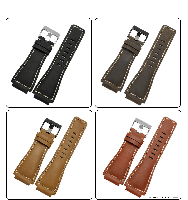 33*24mm Konvexen End Italienische Kalbsleder Leder Uhr Band Für Glocke Serie BR01 BR03 Armband armband Armband Gürtel ross Gummi Mann