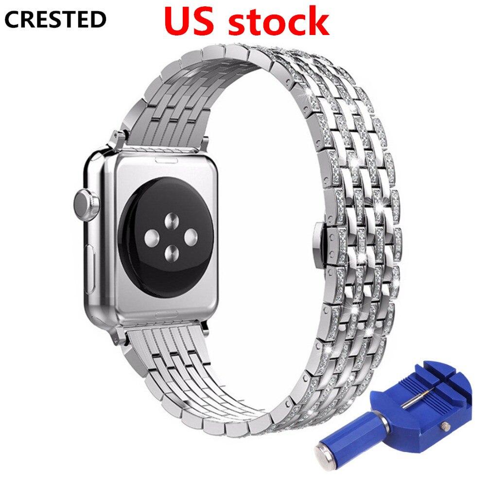 CRESTED cinturino in acciaio inox Per Apple orologio 4 band 44mm/40mm Diamante iwatch 3 2 1 42 mm/38mm butrery Anello del braccialetto del polso