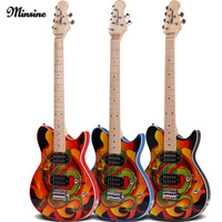 Minsine China Dragon Design Rock Electric Guitar Double Pickups Effects Set Performance Graffiti Electric guitar