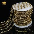 Латунь золотая цепь Rondelle граненные титана стекло бусины розария цепи с золото стекло бусины DIY ожерелье JD099