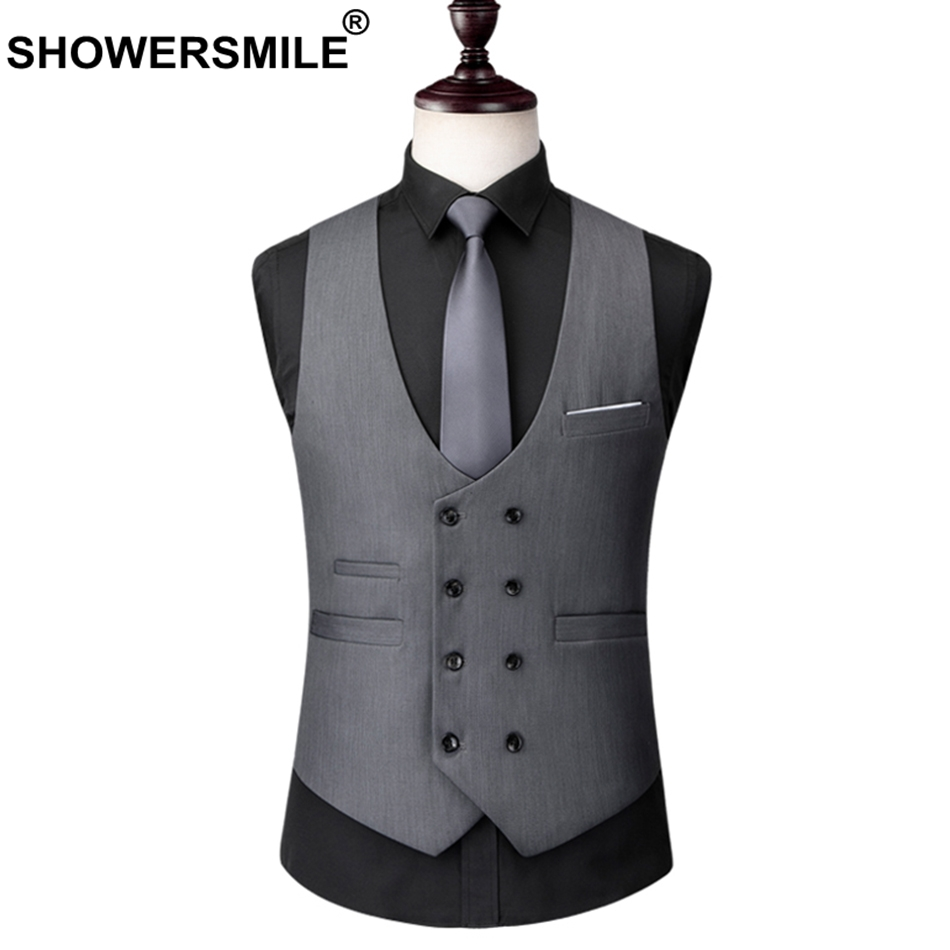 7de0f8310d6b1 SHOWERSMILE Double Breasted Waistcoat Men Gray Business Sleeveless Blazer  Male Formal Business Work Suits Vest Spring Clothes