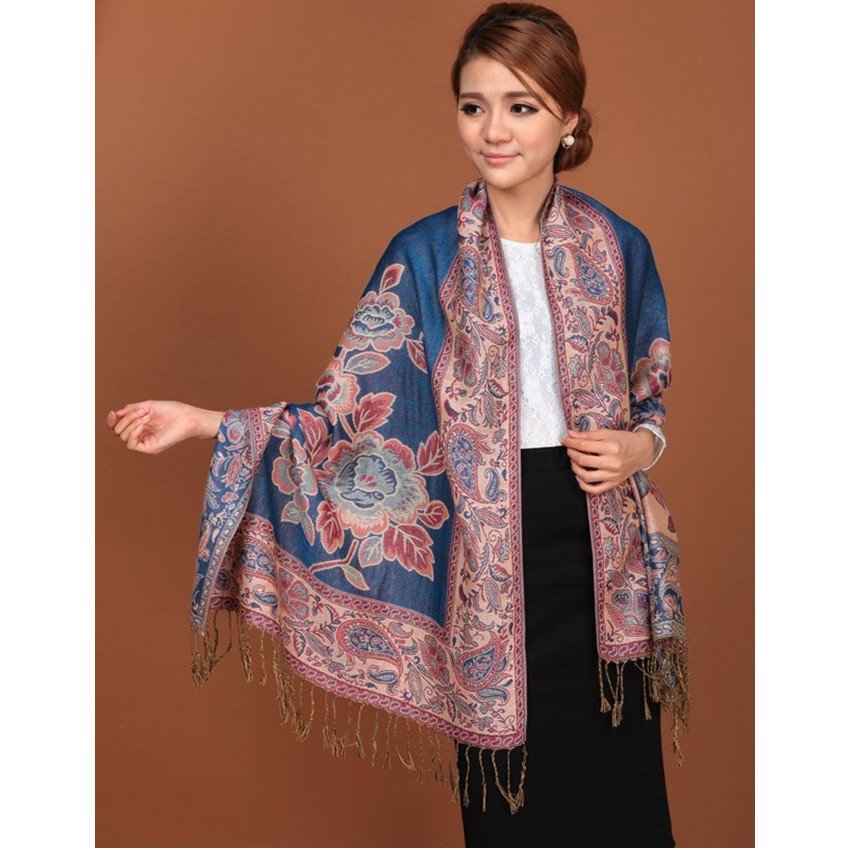 Blue Hot Sale Fashion Double Faces Fancy Paisley Women's Pashmina Shawl/  Scarf     Wrap   Peony Free Shipping RH-1A