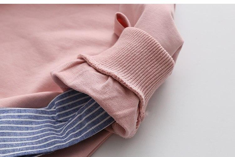 2018 Spring Autumn 2-10 11 12 Years Old Teenager Children Patchwork Fake 2 Pcs Baby Kids Basic Sweatshirt For Girls 11 12 Years (16)
