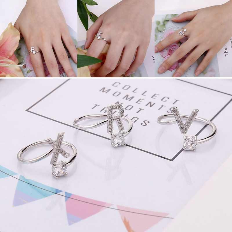 Fashion 26 Letters Silver Ring For Women Rhinestone Open Finger Rings Female Engagement Ring Jewelry Anel Party Gift
