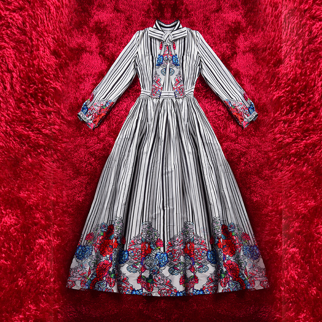 2017 Spring Summer Classic Elegant Plus Size XXXL Full Length Runway Dress Bow Collar Striped Floral Printed Bow Gall Dresses