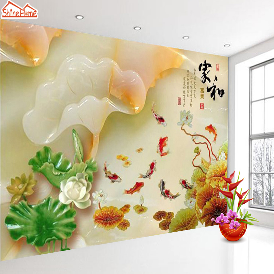 Online get cheap lotus chinese restaurant aliexpress chinese happyness style goldfish lotus lake wallpaper mural rolls hotel restaurant living room cafe bedroom tv dhlflorist Choice Image