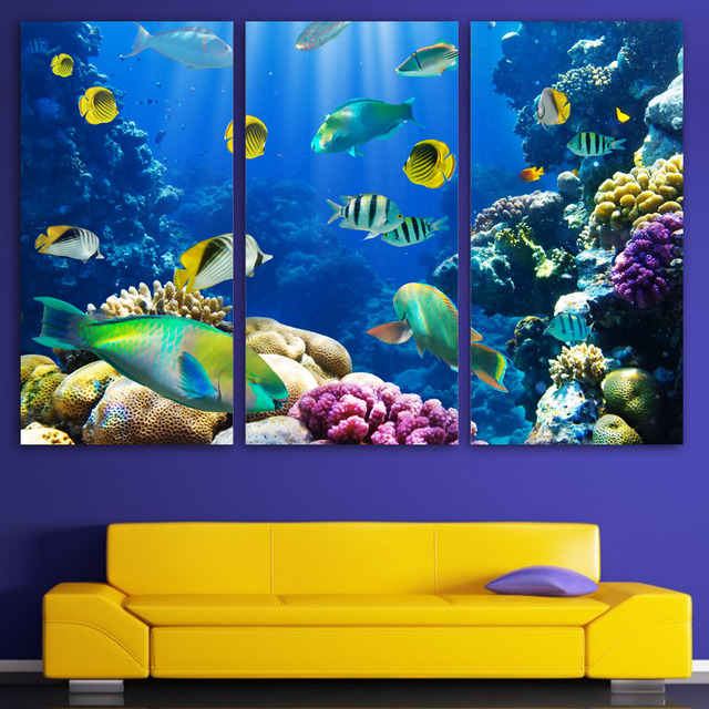 New Arrival 3 Panels Canvas Art Tropical Coral Color Fish Home Decor  Unframed Wall Spray Painting
