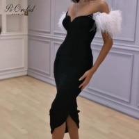 PEORCHID Для женщин черное вечернее платье длинное строгое платье Для женщин элегантные платья De Soiree сексуальный перо короткое дубайское вечер