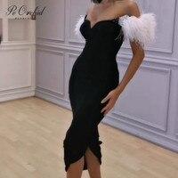 PEORCHID женское черное вечернее платье длинное строгое платье Женские Элегантные платья De Soiree сексуальное перо короткое дубайское вечернее п