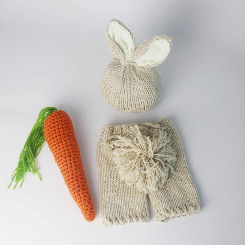 Фото Фотографии новорожденных Детское реквизит Банни крючком костюм набор кролик