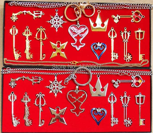 Smart New 13pcs/set Kingdom Hearts Ii Key Blade Necklace Pendant+keyblade+keychain Weapons Set Providing Amenities For The People; Making Life Easier For The Population