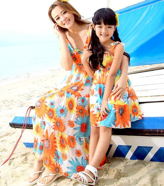8f1cdc4c8 Beach Chiffon FAMILY Dress New Summer Bohemian Woman Girl Dresses ...