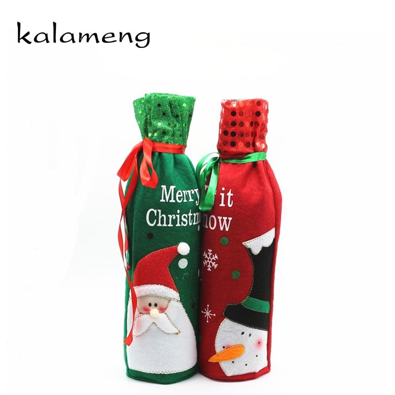 2018 red wine cover bags christmas bottle set ghirlanda natale porta noel dinner table - Ghirlanda porta natale ...