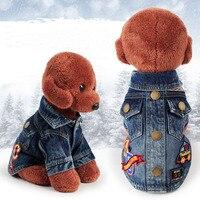 Denim Pet Dog Clothes Cartoon Pattern Pocket Cowboy Shirt Clothing For Small Medium Dogs Puppy Jacket