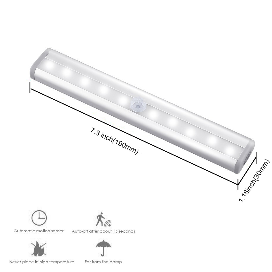 Motion Sensor LED Lights for Closet and Stairs of 10 Pcs Set 7
