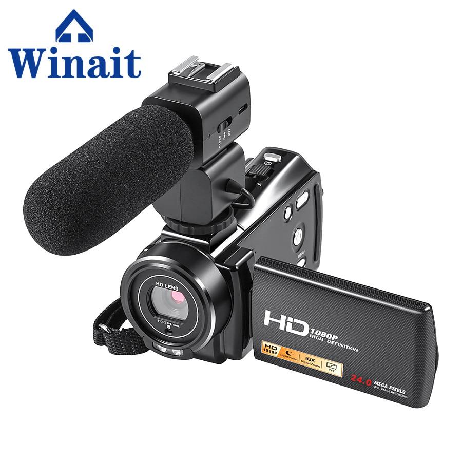 Winait Newest 1080P HD Digital Video Camera 24MP Portable Camcorder 16x Digital Zoom 3.0 Rotatable LCD Screen HDV-V7 2 lcd hd 1080p mms digital infrared
