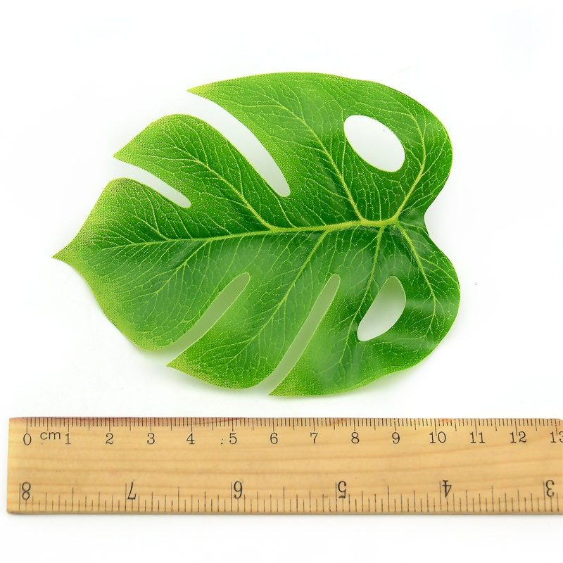 1 Bouquet/18 leaves Artificial Silk Palm Monstera Leaves Plant for Hawaii Luau Party Decorations Beach Wedding Table Decoration 5