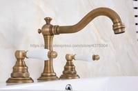 Antique Brass bathroom faucet for hot and cold Mixer tap Sink faucet Double handle 3 hole bathroom basin faucet Nan073