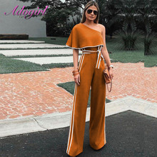 One Off Shoulder Sexy Jumpsuit Solid Color Sashes Short Batwing Sleeve Elegant Office Lady 4 Colors Overalls(China)
