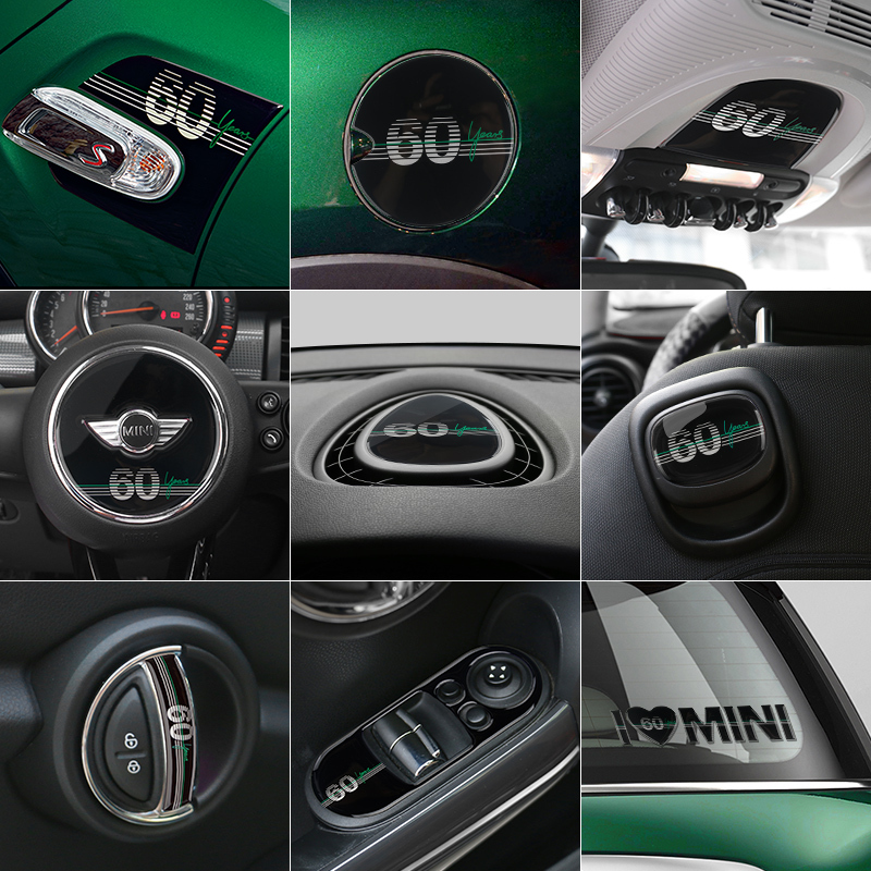 3D ABS Sticker 60th Anniversary Edition Badge Interior Stickers Car Styling Emblem For BMW MINI Cooper One F55 F56 JCW Auto