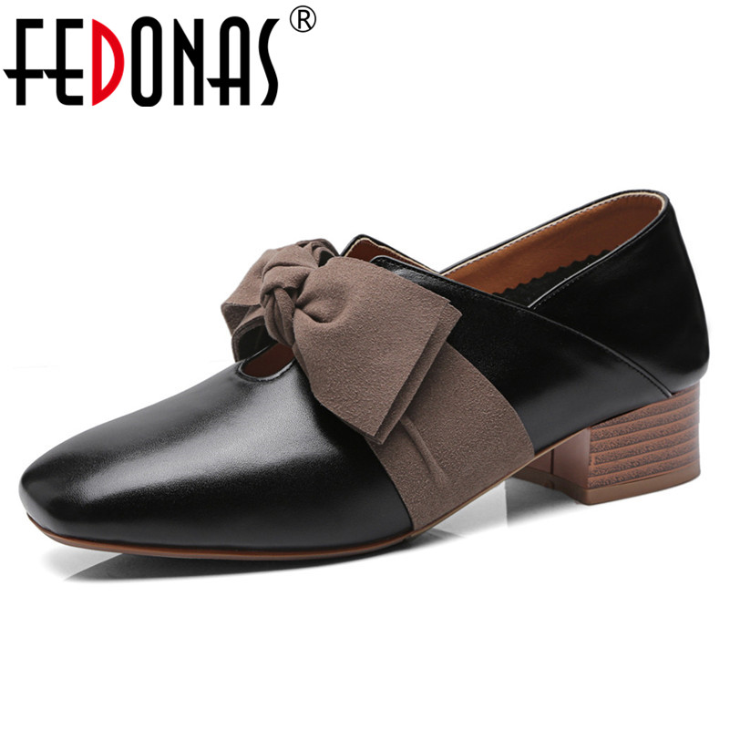 FEDONAS New Women Fashion High Heels Pumps Square Toe Bowtie Party Wedding Shoes Woman Genuine Leather Prom Pumps Ladies Shoes fedonas top quality women bowtie pumps genuine leather ladies shoes woman sexy high heels party wedding shoes pointed toe pumps