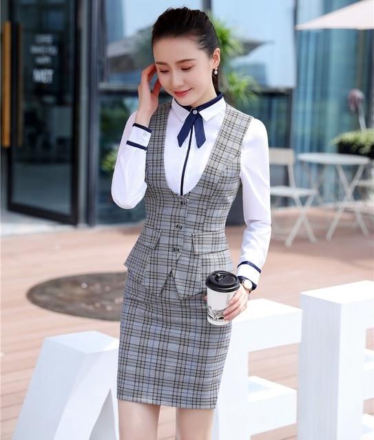 6c9301f5e Moda mujer negocios trajes con falda y Top conjuntos chaleco y chaleco gris  Plaid Oficina señoras
