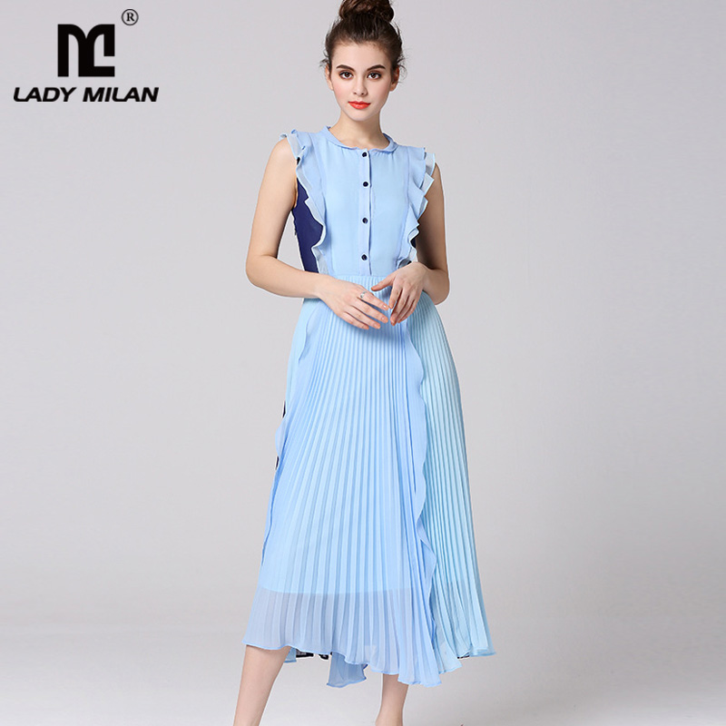 New Arrival 2019 Women s Peter Pan Collar Sleeveless Ruffles Pleated Patchwork Fashion Designer Casual Dresses