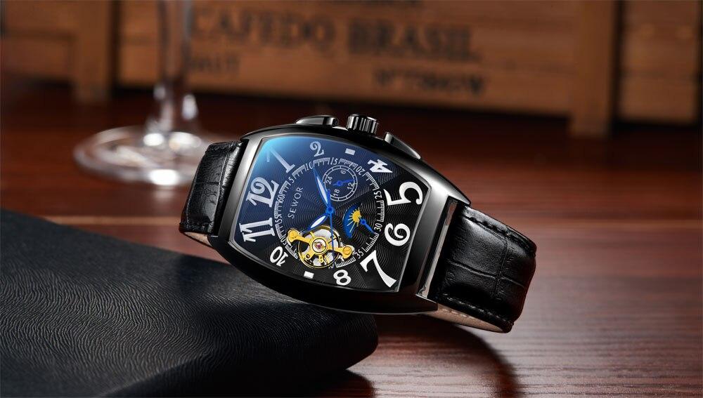 HTB1uR4FXsrrK1RjSspaq6AREXXam SEWOR New Black Gold Tonneau Tourbillon Automatic Mechanical Watch Men Genuine Leather Strap Men Clock Male Men Wristwatches