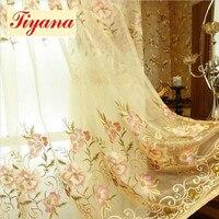 ヨーロッパ刺繍ブラックアウトカーテン用リビングルーム窓カーテン寝室用高級牡丹カーテン熱い販売新しいwp231 * 15