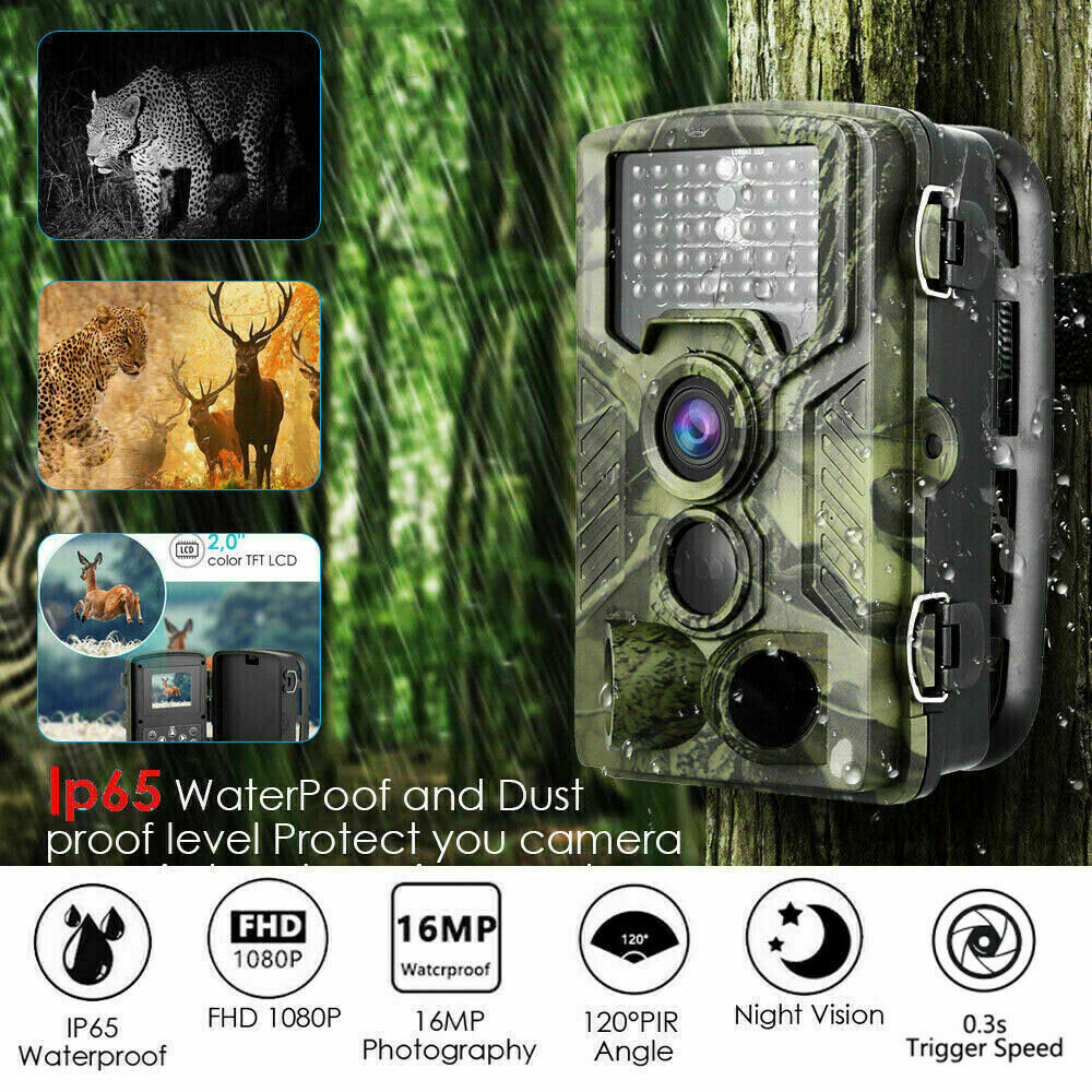 1080P 16MP <font><b>Hunting</b></font> <font><b>Trail</b></font> <font><b>Camera</b></font> 2.0 inch LCD Screen Wildlife Scouting Cam IR Night Vision IP65 Waterproof CAM image