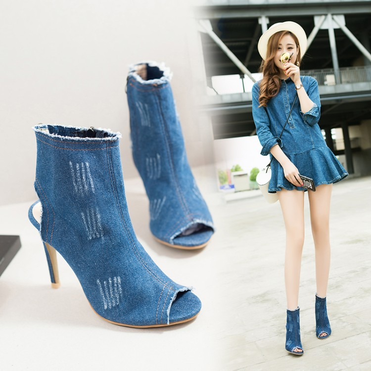 Women Denim High Heels Sandals Shoes Lady eep Toe Jean Sexy Nightclub Party Summer Stentch Fabric Sandals Shoes Plus Size 36-40