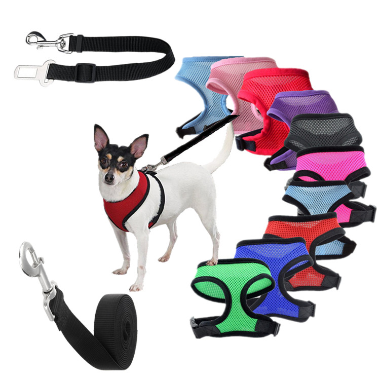 1pc Nylon Mesh Dog Vest Harness/Pet Leash/Puppy Car Safety Seat Belt Adjustable Breathable Cat Dog Harness For Dog 10 Colors