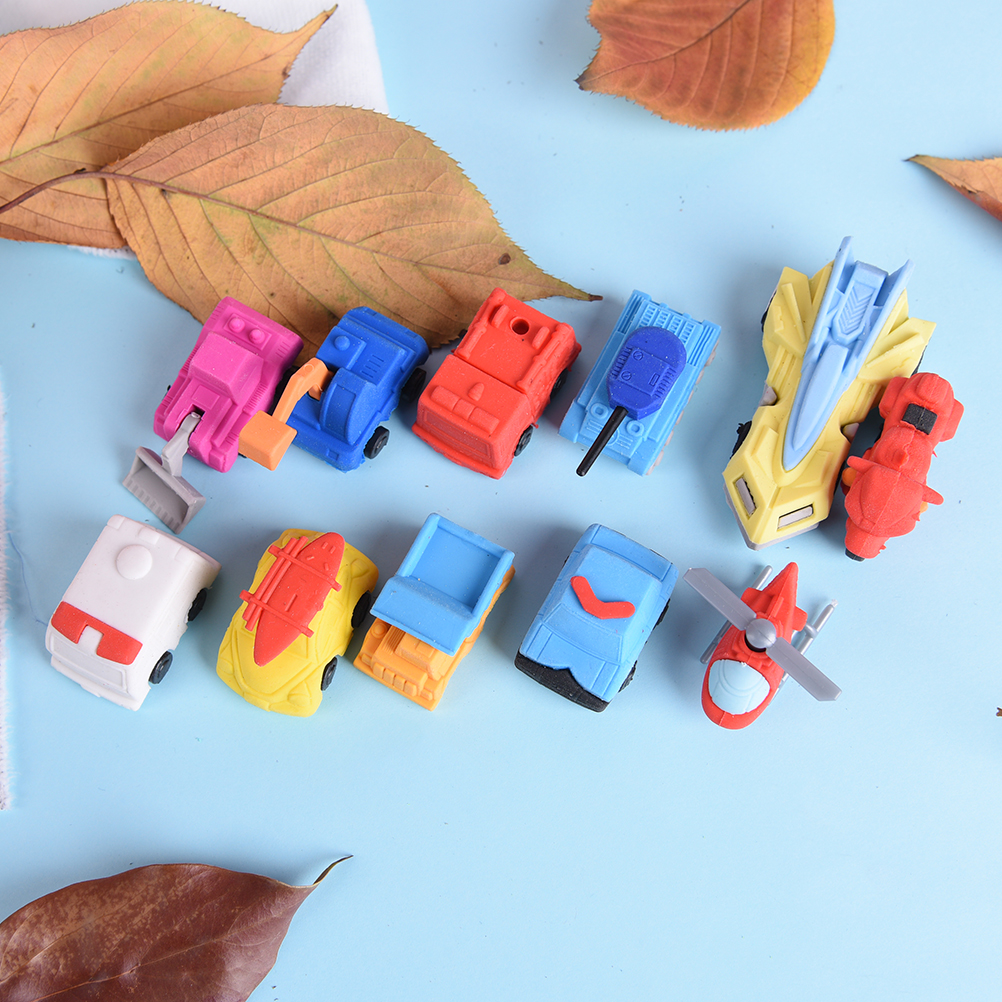1Pcs Novelty 3D Small Car Rubber Eraser Kawaii Creative Erasers Stationery School Office Supplies Gifts For Kids Boy Toy