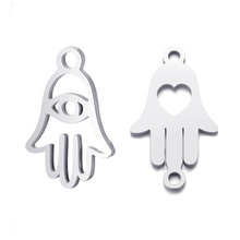 10pcs Real Stainless Steel Charms Eye Love Hamsa Hand Pendant for Fashion Handmade DIY Jewelry Making Finding Accessories