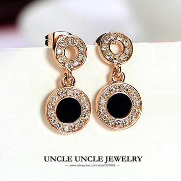 Clic Black Round Woman Earring Rose Gold Color Rhinestones Enamel Craft Modern Polka Dot Design Lady Drop Whole In Earrings From Jewelry