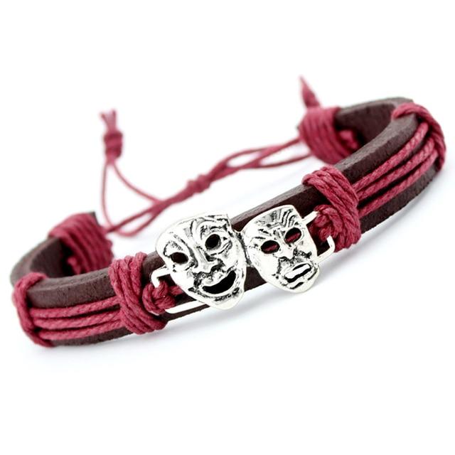 Skull Skeleton Mask Dogs Paw Fish Turtle Tortoise Scissors Crown Arrow Charm Wax Leather Bracelets Women Men Boy Girl Jewelry 1