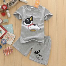 New boys clothes short sleeve T-shirt+shorts 2-piece set O-neck dog pattern boys clothing set gray children clothing