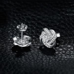 Image 3 - Ювелирные изделия, серьги гвоздики с сердечками, CZ, 925 пробы, серебряные серьги для женщин, девочек, корейские серьги, модные ювелирные изделия 2020