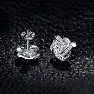 Image 3 - JewelryPalace אהבת קשר CZ Stud עגילי 925 סטרלינג עגילי כסף עבור נשים בנות קוריאני עגילי תכשיטים 2020
