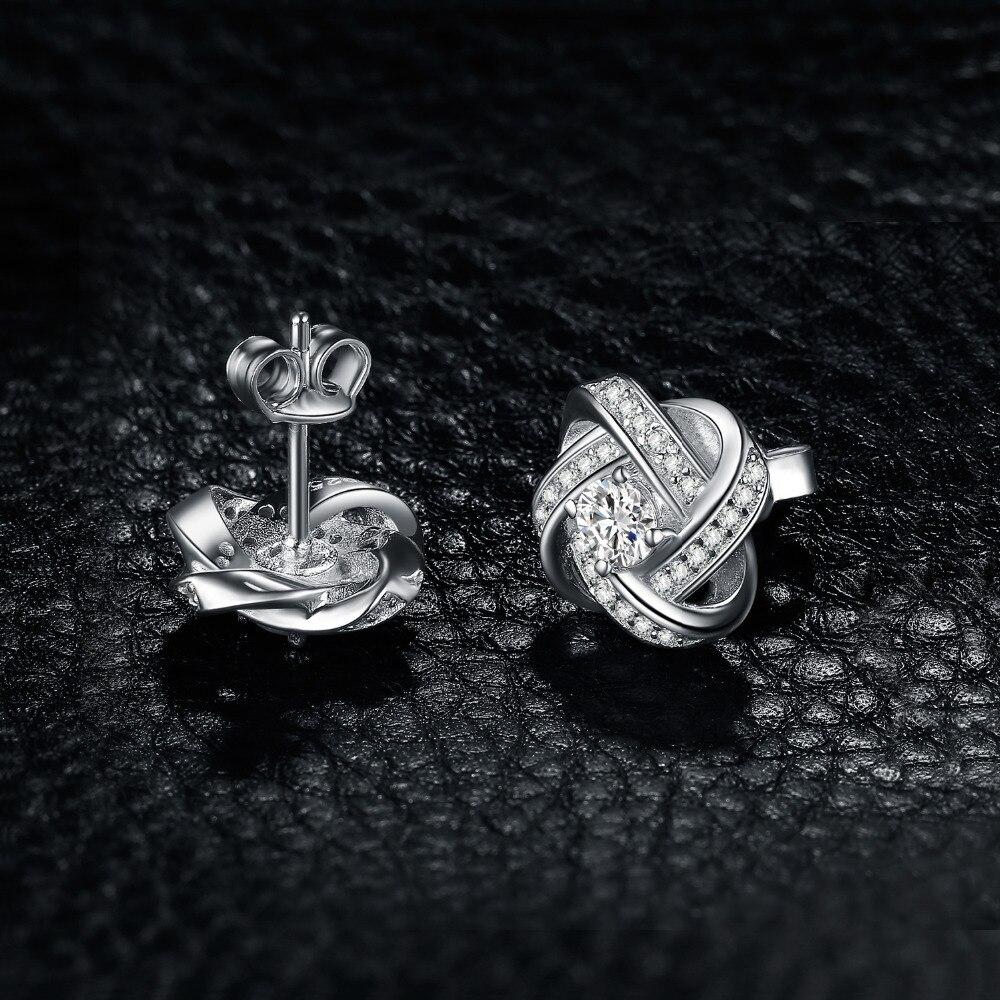 Image 3 - Jewelrypalace 愛ノット cz スタッドピアス 925 スターリングシルバーイヤリング女性女の子韓国のイヤリングファッションジュエリー 2020イヤリング   -