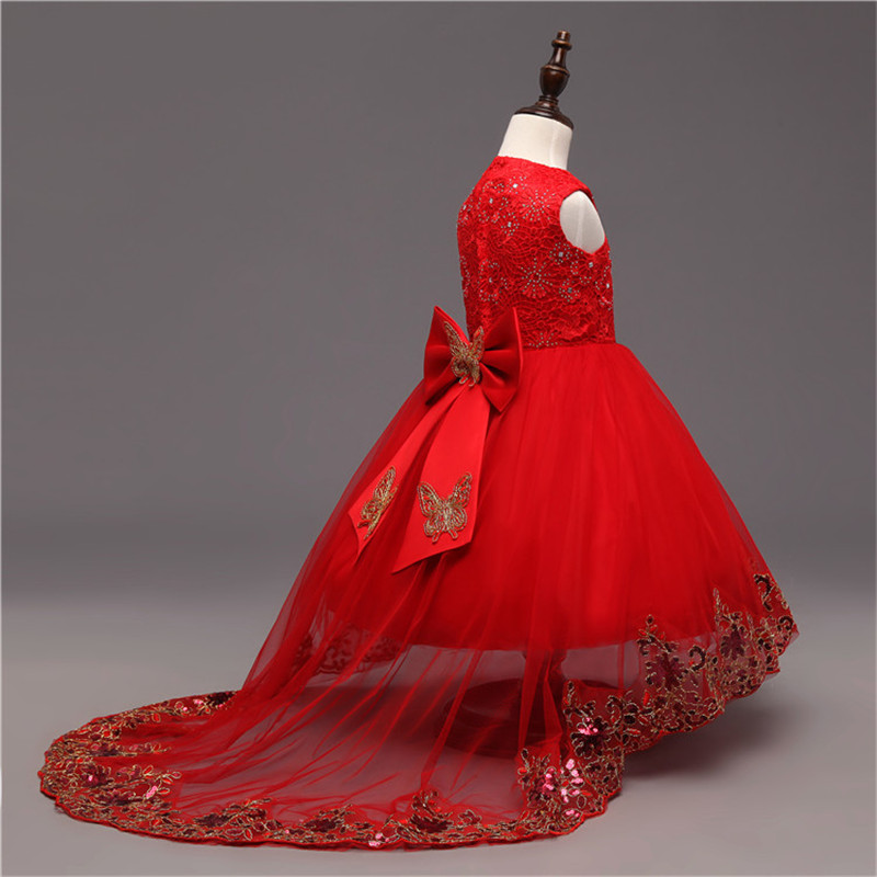 Red Evening Formal Dress For Girl Of 12 Years Princess Teeangers Kids Prom Party Dresses Girls ...