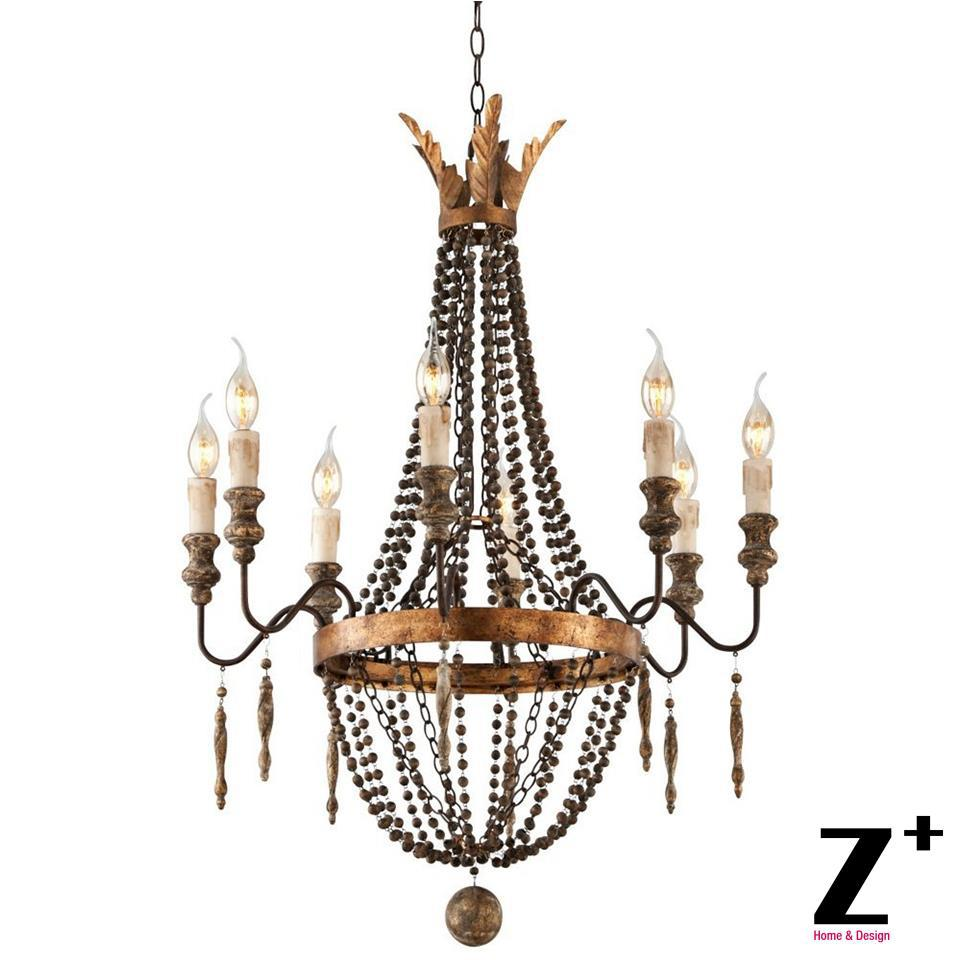 replica item america style delacroix candle chandelier light 8 lights french bronze wood bead free shipping - Wood Bead Chandelier