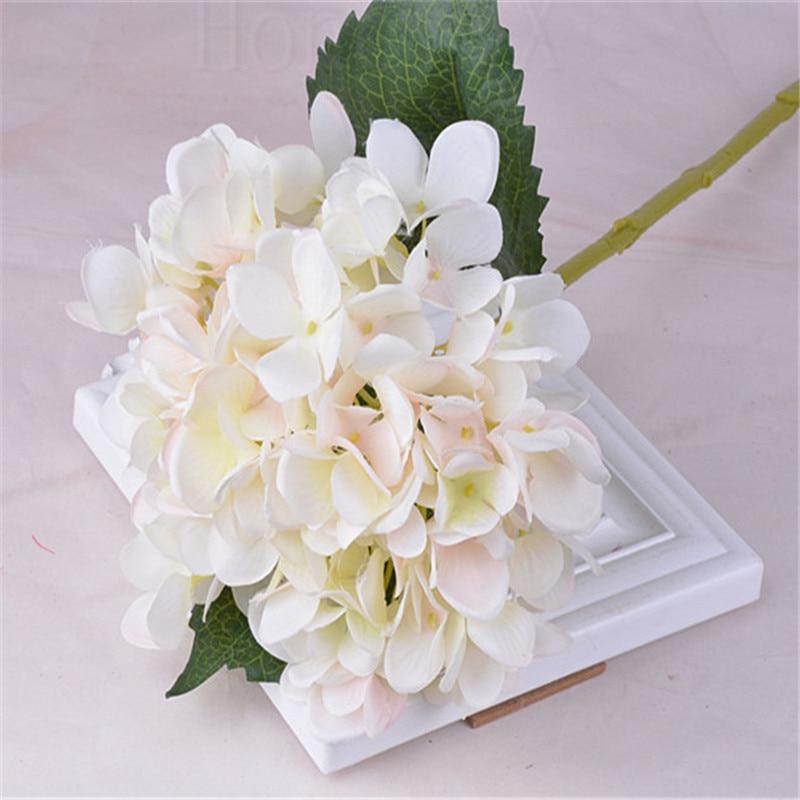 White pink blooming silk hydrangea flower heads for diy
