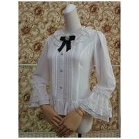 Spring Autumn New Girl Dress Lace Shirt Vintage Wrist Chiffon Shirt White Lolita All match Long sleeved Top Free Shipping