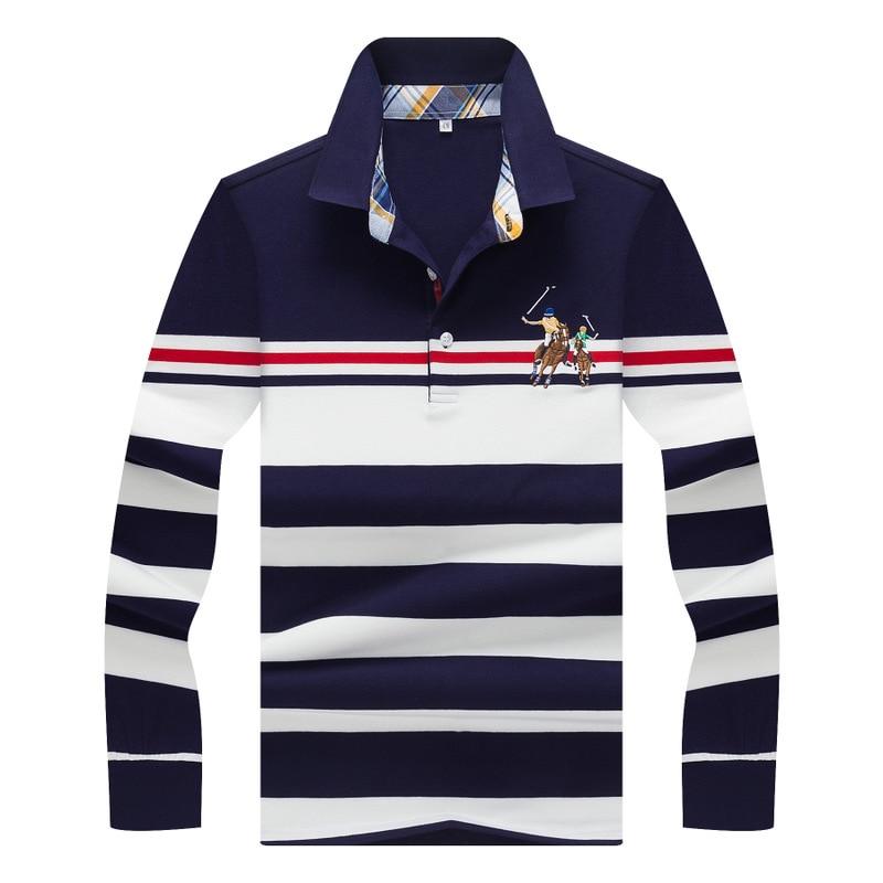 Hommes 2018 Printemps Marque Vetements Coton A Manches Longues   Polo   haut Bas Tournent Vers Le Bas Tops Raye   Polo   Chemises pour