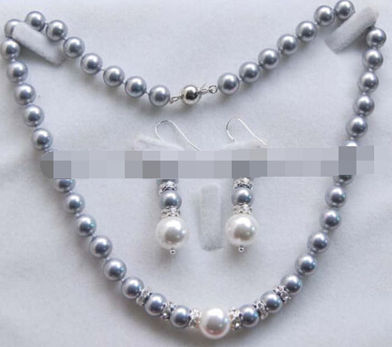 Free shipping 550 8-12MM Gray /White South Sea Shell Pearl Round Beads Necklace + Earrings Set